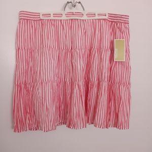 Michael Kors Pink & White Striped Skirt